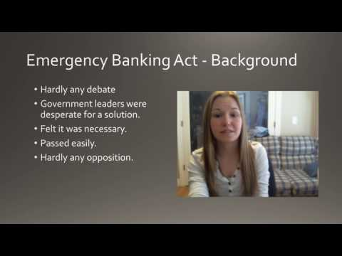 Emergency Banking Act - WWI & Great Depression Lessons of History