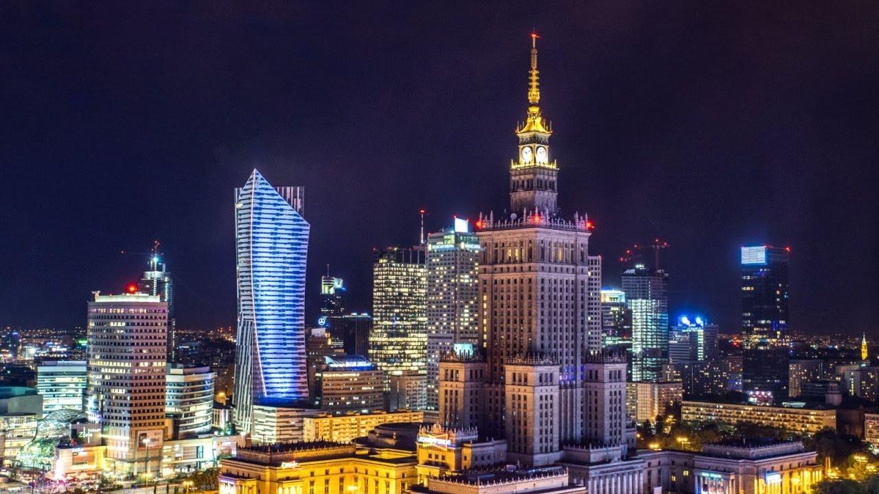 Варшава ночью. Варшава. Warsaw Poland - YouTube