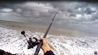 Storm Beach Fishing Alone on the Coast