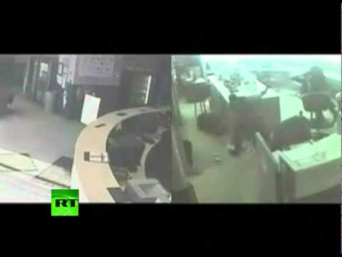 CCTV footage of Detroit police station shooting