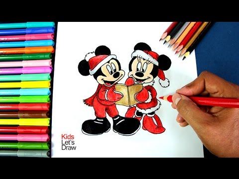 Cómo dibujar a Mickey y Minnie Mouse en Navidad | How to draw Mickey ...