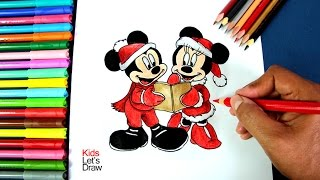 Cómo dibujar a Mickey y Minnie Mouse en Navidad | How to draw Mickey and Minnie Mouse at Christmas