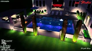 Modern Swimming Pool & Spa Design with Travertine Decks and Large Cabana.