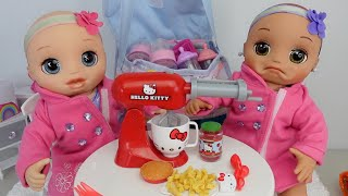 Baby Alive twin baby dolls Packing travel bag to go to grandmas house