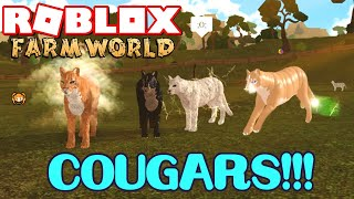 ROBLOX FARM WORLD COUGAR FAM!!! Auras and Trails, NEW Badges, Tobino HORSE Roleplay, Hebridean Sheep