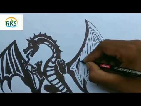 How to traw a tribal dragon by RKS tribal drawing