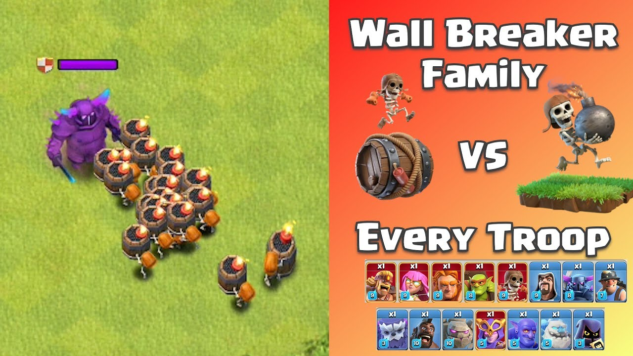 Troll Duel! Wall Breaker Family VS Every Troop | Clash of Clans