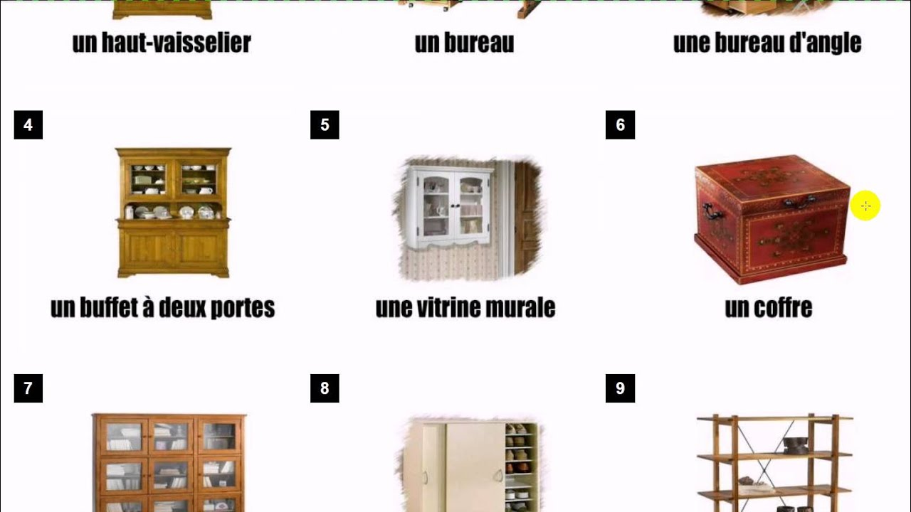 learn french vocabulary les meubles youtube. Black Bedroom Furniture Sets. Home Design Ideas