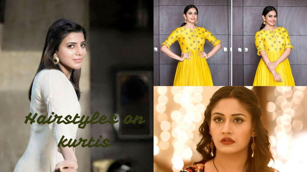 Hairstyles on kurtis/simple hairstyles on kurti - YouTube