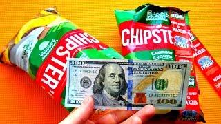 Чипсы Флинт Chipsters акция Денежный boom. Распаковка чипсов Flint с деньгами