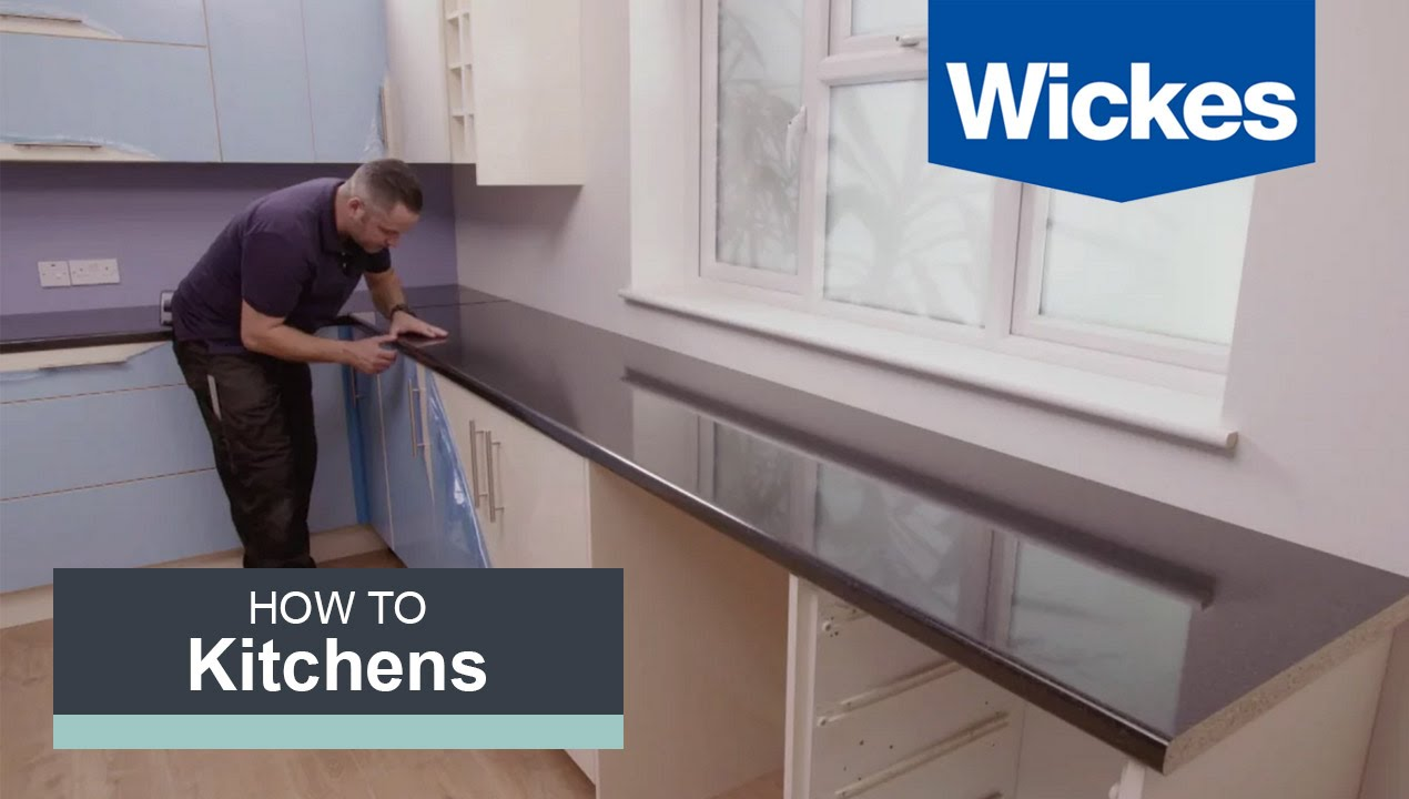 How to Fit a Kitchen Worktop with Wickes - YouTube