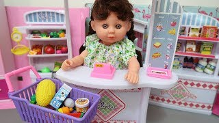 Shopping with Funny Baby Doll and Kinder Joy Surprise
