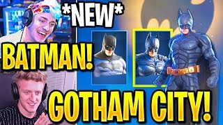 STREAMERS BUY *NEW* BATMAN SKINS (2 STYLES) + LAND in GOTHAM CITY! (Fortnite)