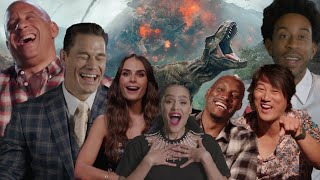 FAST 9 Cast Reacts To JURASSIC WORLD / FAST & FURIOUS Crossover Rumors | HILARIOUS INTERVIEW