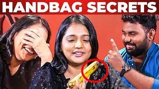 BANANA Inside Vinodhini's Handbag Revealed by VJ Ashiq | What's Inside the HANDBAG