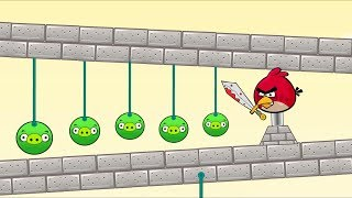 Angry Birds Piggies Out - KICK OUT ALL ROUND PIGS BY CUTTING ROPE!