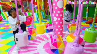 Youtuber Kids Play Indoor Playground Children's Ball Pit Play Slide and Play Carousel Merry Go Round