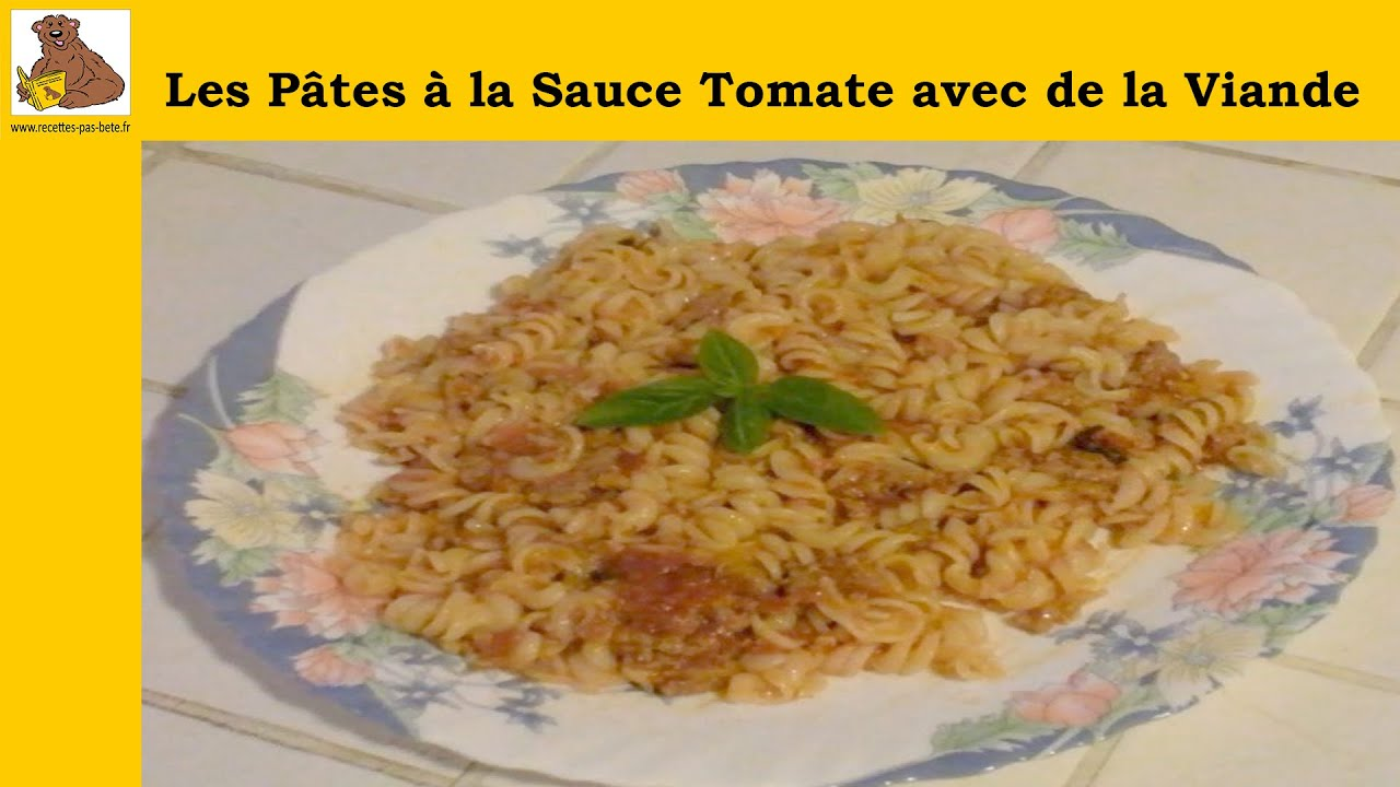 les p tes la sauce tomate avec de la viande recette facile hd youtube. Black Bedroom Furniture Sets. Home Design Ideas