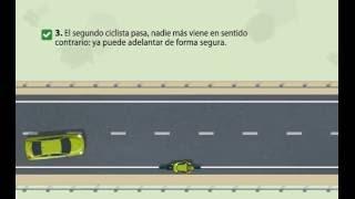 Cómo adelantar a un ciclista si otro se aproxima de frente