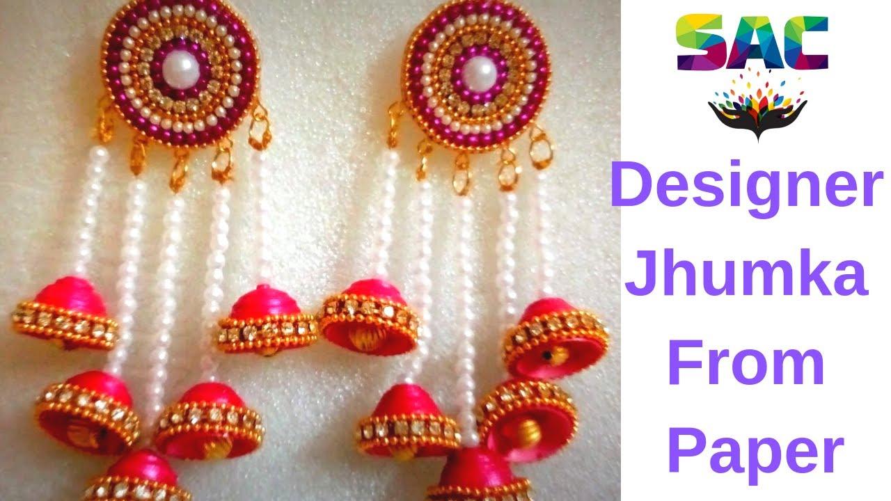 How to Make Bridal Jhumka | DIY | Party Ware Jhumka | Paper Jhumka ...