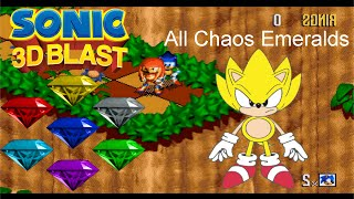Super Sonic in Sonic 3D Blast (All Chaos Emerdals Locations) [HD 60FPS]