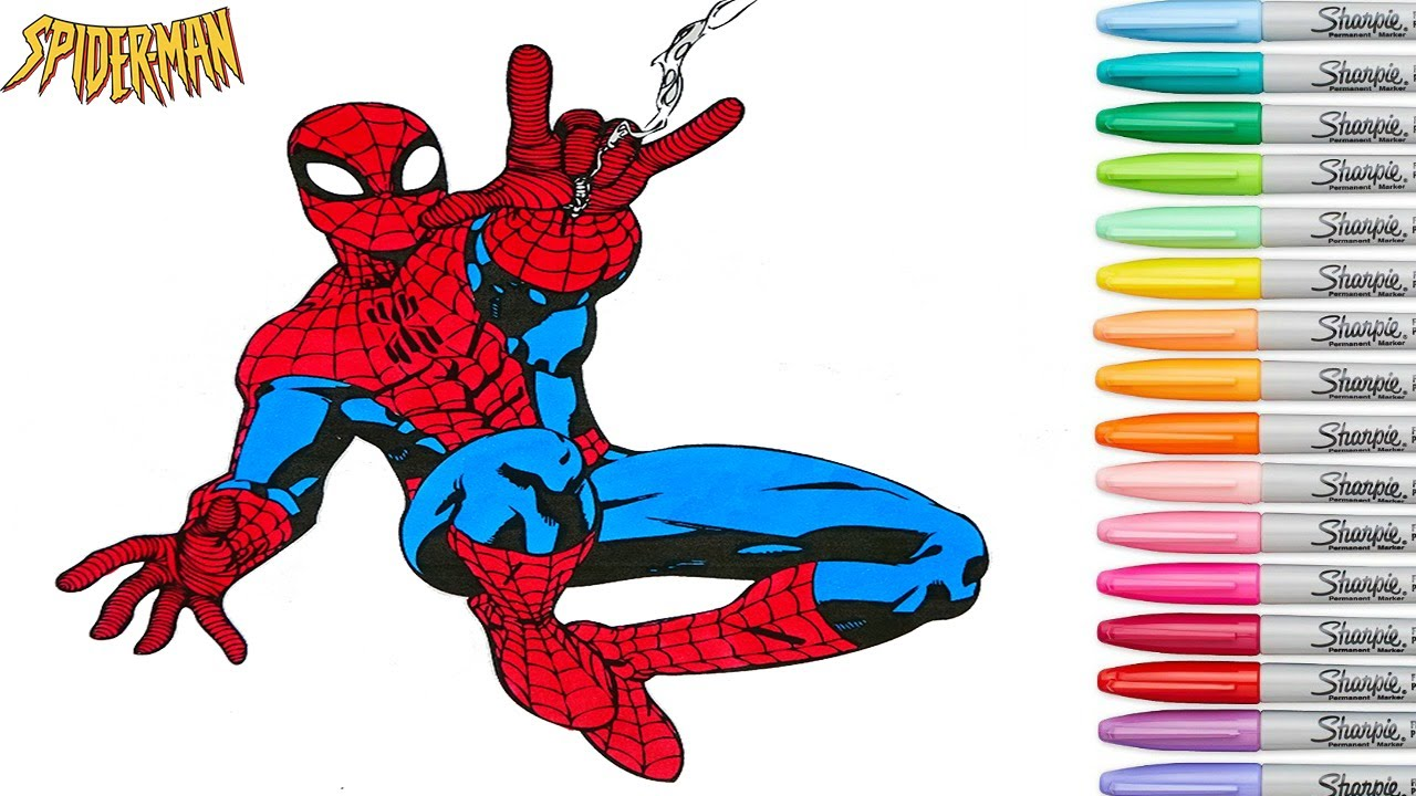 Coloring book pages superheroes - Spiderman Coloring Book Pages Superhero Avengers Rainbow Splash