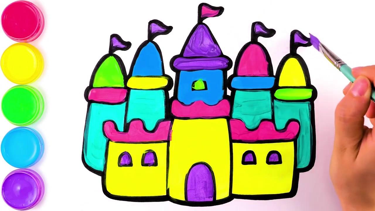 Как нарисовать замок, рисунок и раскраска для детей - YouTube