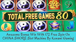 AWESOME BONUS WIN WITH 172 FREE SPINS ON CHINA SHORE SLOT MACHINE BY KONAMI - SunFlower Slots