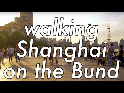 Shanghai on the bund board walk in 4K