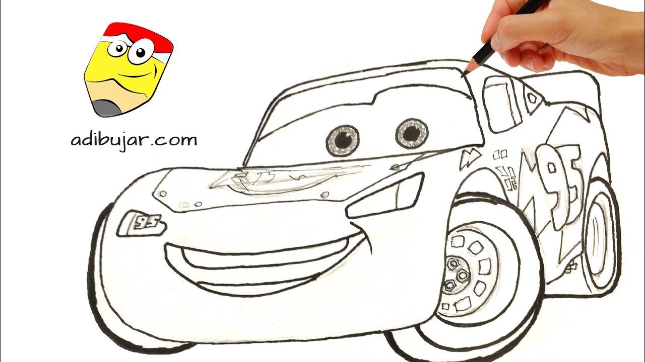 Cómo Dibujar Y Colorear A Rayo De Los Cars 3 Disney: Cars 3: Cómo Dibujar A Rayo McQueen A Lápiz Paso A Paso