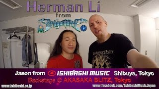 Herman Li signs 2 Ibanez Guitars for Ishibashi Music