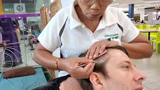 $6 TOTAL WHITE HAIR REMOVAL 🇹🇭 Pattaya Thailand   Thai Lady Plucking White Hairs for 1 HOUR ASMR 4K