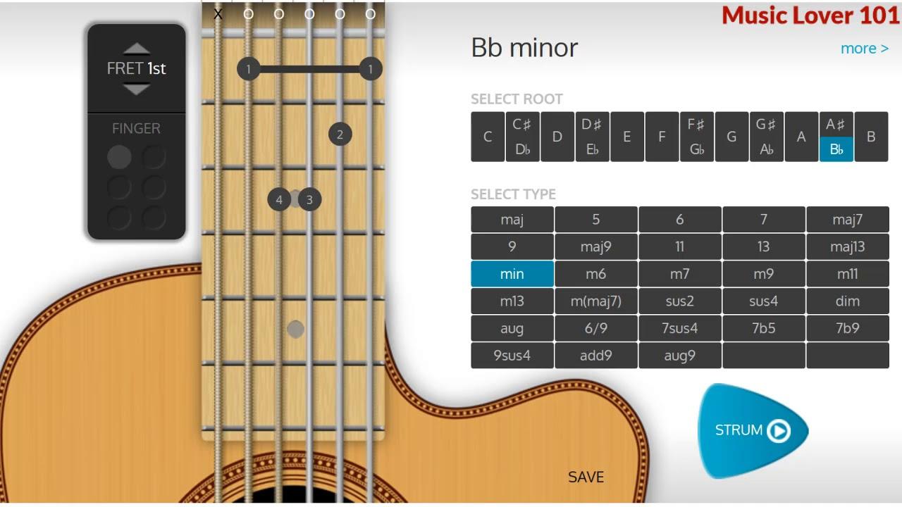 A Minor Or B Flat Minor Chord Guitar Youtube