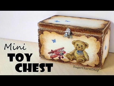 Miniature Furniture; Cute Toy Chest - Dolls/Dollhouse