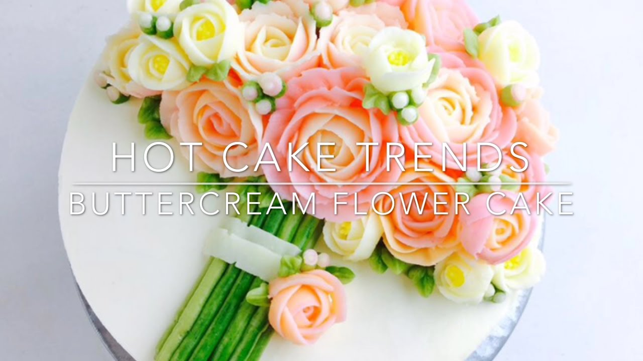 Pink Roses Buttercream Bouquet Cake How To Make By Olga Zaytseva