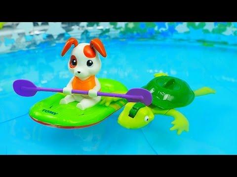 Водные игрушки которые умеют плавать. Щенок в лодке и Черепашка. Игрушки для БАССЕЙНА и ВАННОЙ