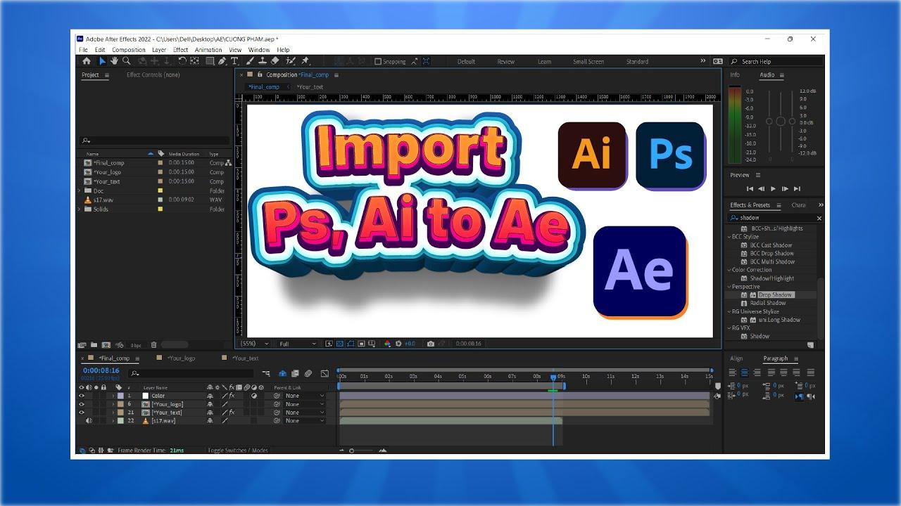 [Hướng dẫn] Bài 2: Import file Photoshop và Illustrator trong After Effect CC 2015