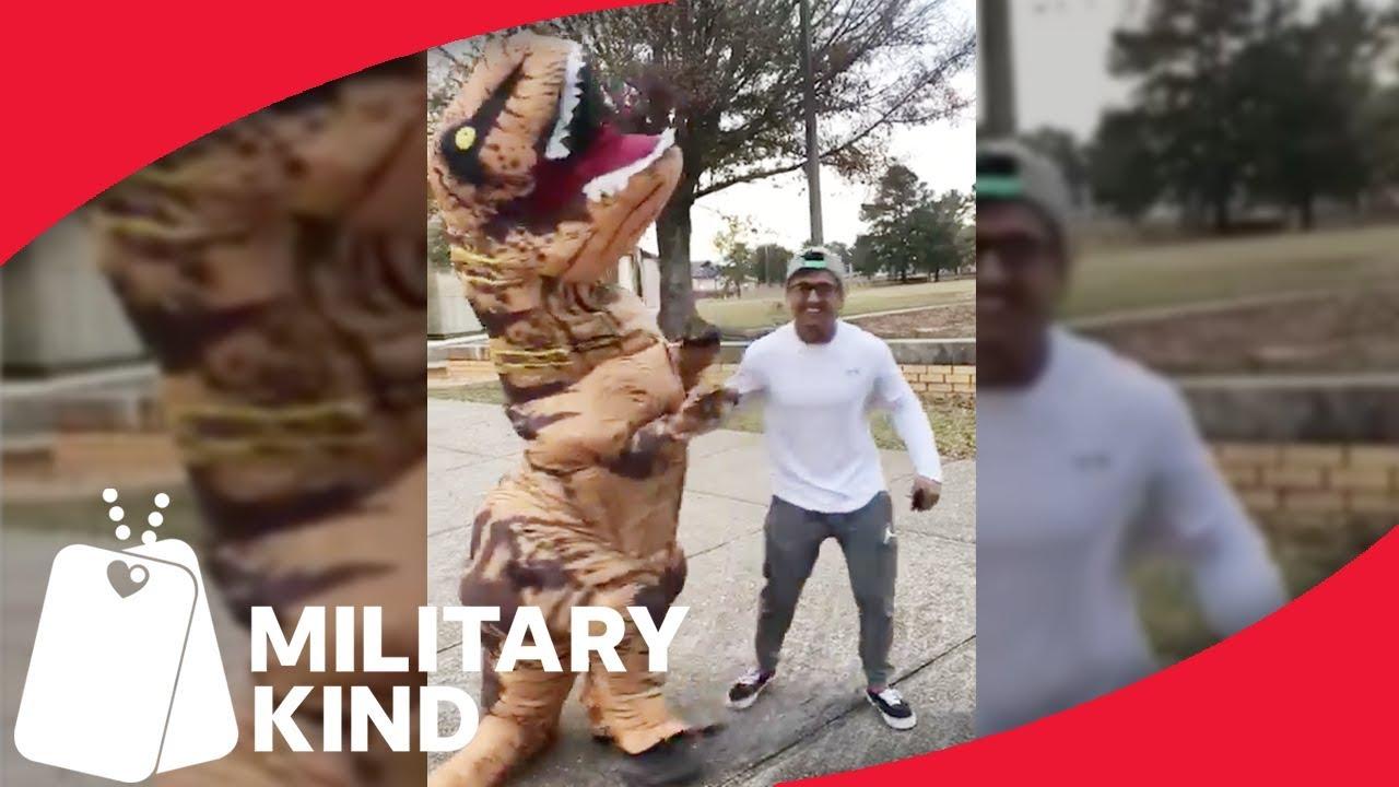 Soldier's mom trolls him dressed as T-Rex