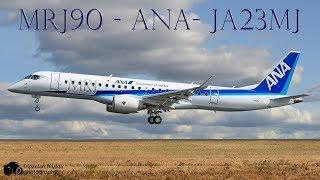 ANA's Mitsubishi Regional Jet MRJ90 (JA23MJ)  First visit @ KPAE  Landing + High Speed Taxi