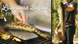 Whole Grilled Bass Fish Recipe  Cooking on the Weber Q Grill  Camping Food