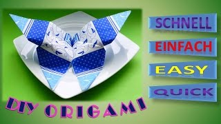 DIY ORIGAMI SCHMETTERLING SERVIETTEN FALTEN, HOW TO FOLD NAPKINS DESIGN BUTTERFLY, SERVIETFOLDNING