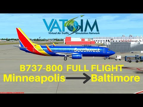 [FSX] Southwest 1960 | Minneapolis - Baltimore | B737-800 | Full Flight | VATSIM