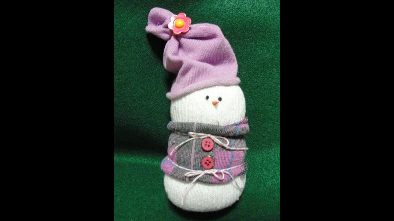 Cute sock snowman diy christmas tutorial craft project youtube
