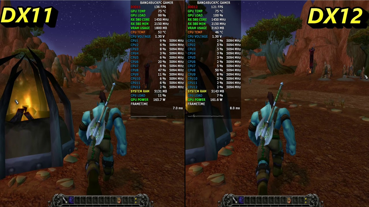 World Of WarCraft Ultra Settings DX11 vs DX12 | RX 580 8GB | i7 8700K 5 1GHz