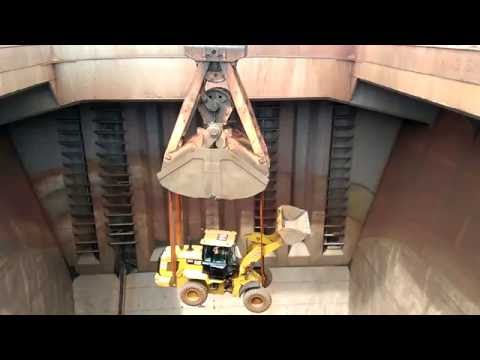 Bulldozer Inside The Cargo Hold Of A Bulk Carrier - Cargo Ship [HD]