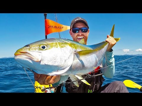 Kayak Fishing: BIG Yellowtail Kingfish Offshore -- New Zealand Ep 8