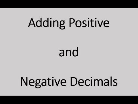 Adding Positive And Negative Decimals (Simplifying Math) - YouTube