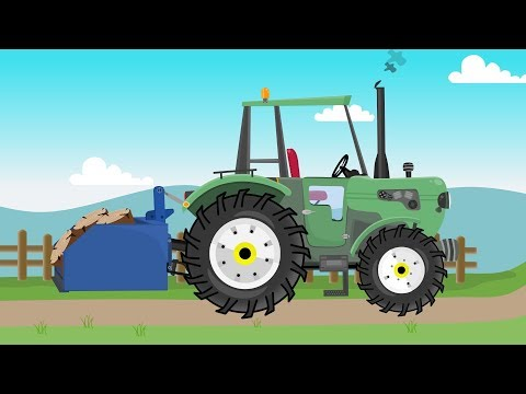 Brave green #Tractor works on the farm | Different machines | Dzielny Zielony Traktor Bajka