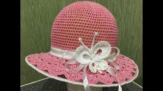 Вяжем летнюю шляпку для девочки крючком.