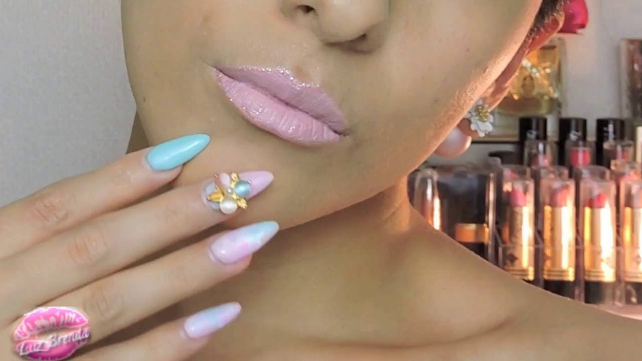Diseño de uñas efecto marmol - YouTube